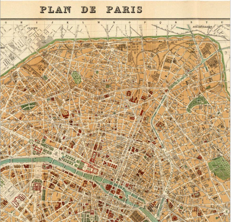 Old Map Of Paris 1889 France Vintage Paris Plan Old Maps And
