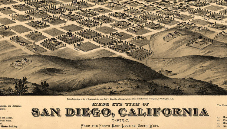 Birdseye View Old Map Of San Diego California United States 1876