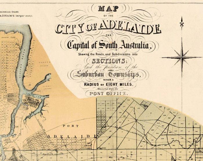 Adelaide Map Of Australia.Vintage Map Of Adelaide City Australia Oceania 1877