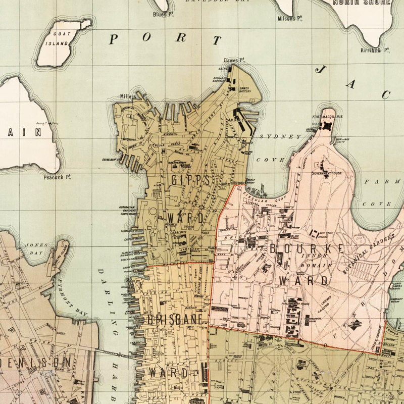 Sydney Map Of Australia.Old Map Of Sydney Australia 1889