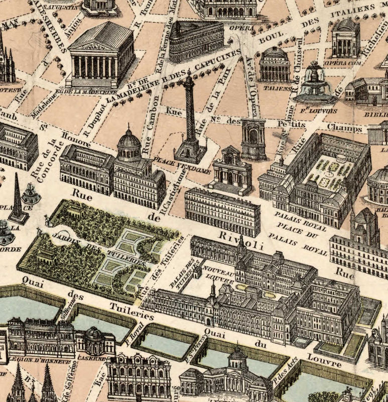 Old Map Of Paris Monumentale France 1878 Old Maps And Vintage Prints