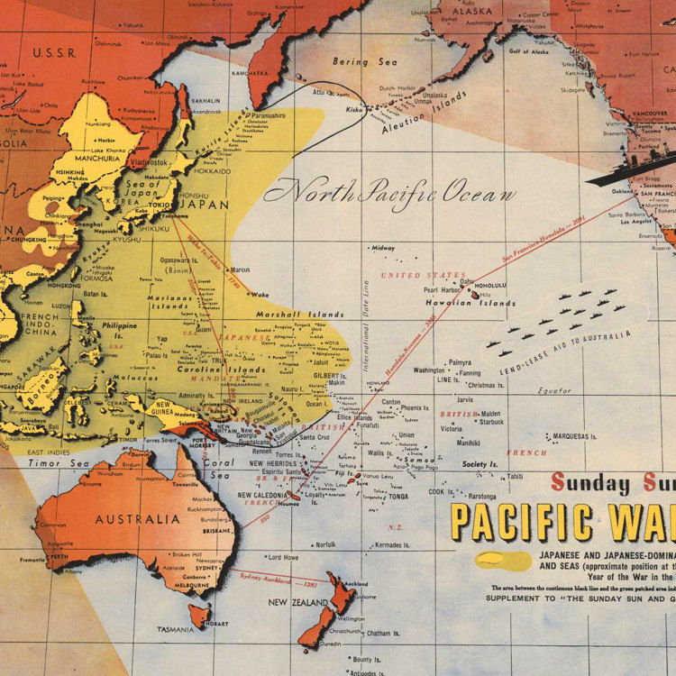 Map Of Australia Japan.Old Map Australia Pacific War Japan 1943 Poster