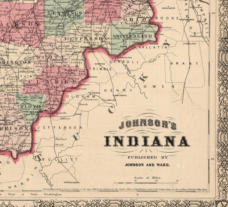 Old Map Indiana State 1864 United States of America