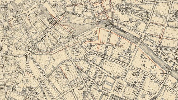 old map of berlin germany 1894 antique vintage old maps and vintage prints. Black Bedroom Furniture Sets. Home Design Ideas