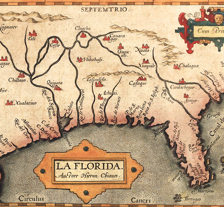 Antique Map Of Florida.Old Map Of America Florida Discoveries 1584 Old Maps And Vintage