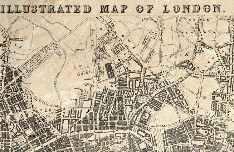 A Map Of London England.Old Map Of London England United Kingdom 1845