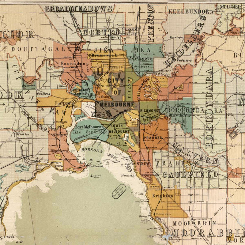 Map Of Melbourne Australia.Vintage Map Of Port Phillip And Melbourne Bay Australia 1886 Old
