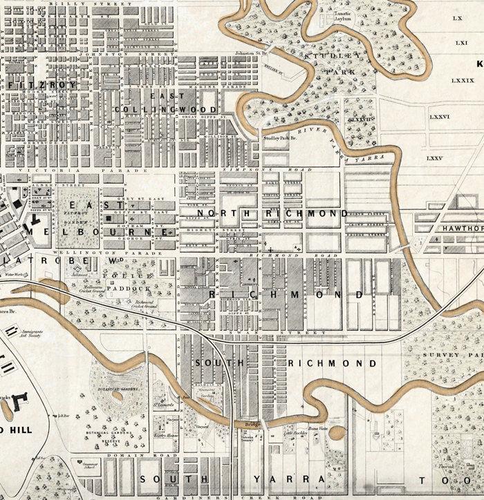 Melbourne Australia City Map.Vintage Map Of Melbourne City Australia Oceania 1851 Old Maps