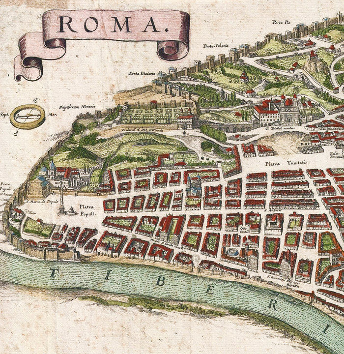 Old Map Of Rome Roma Italy 1652 Antique Vintage Italy