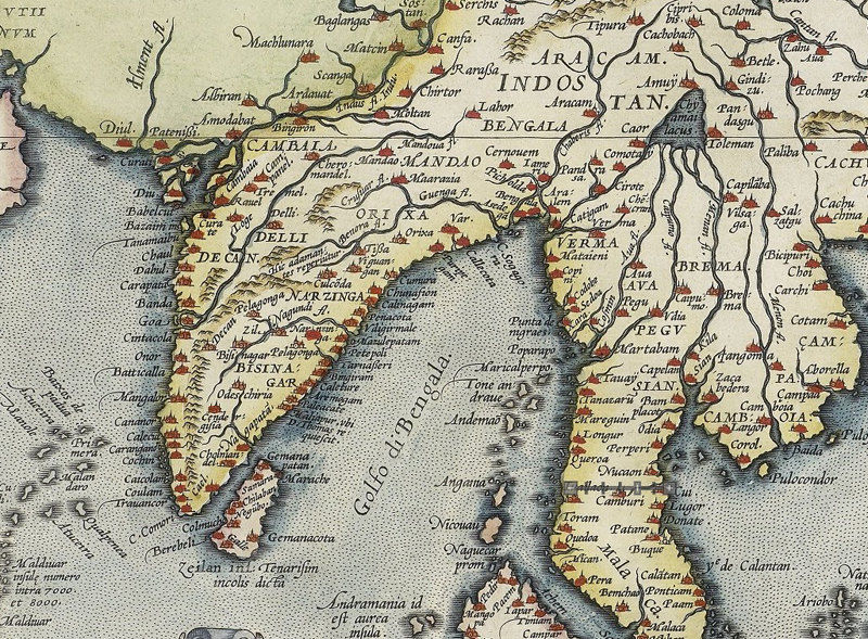 Old Map Of India South East Asia 1592 Asia Antique Map Old