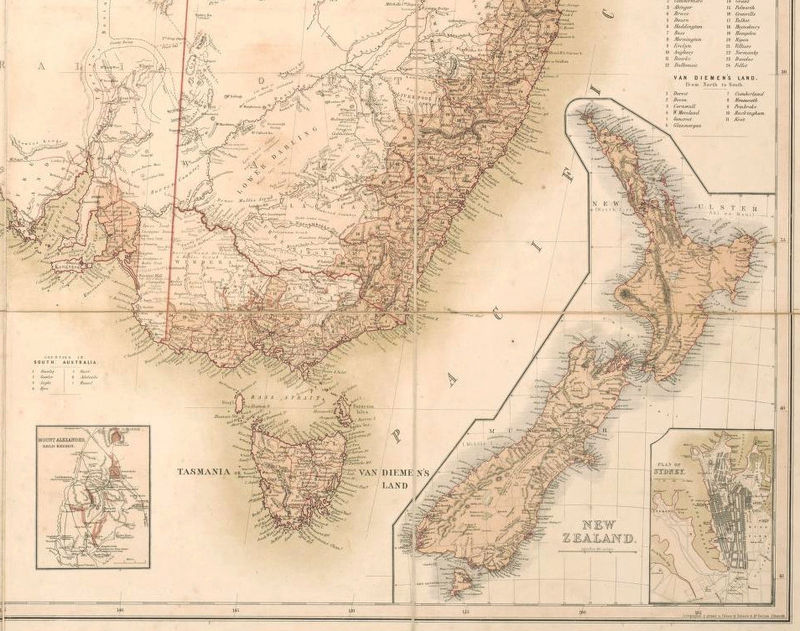 Australia New Zealand Map.Old Map Australia Oceania New Zealand Antique 1857 Vintage Map