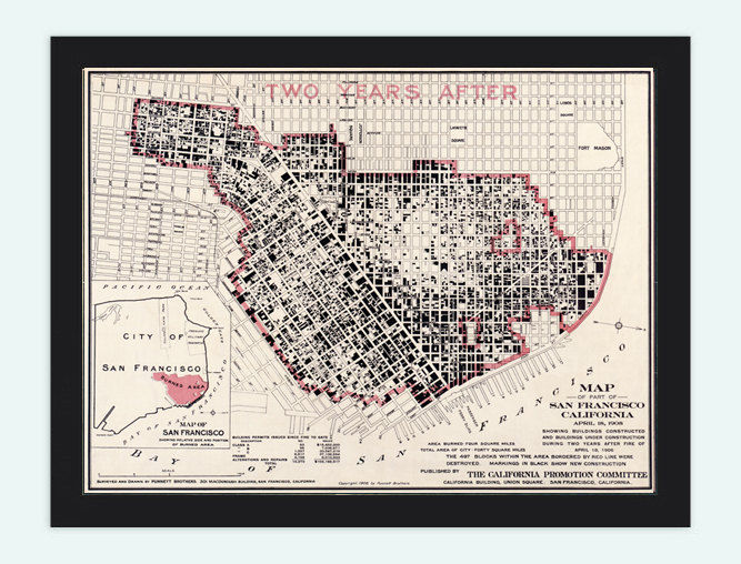 Vintage Map of San Francisco Fire Damage United States of America