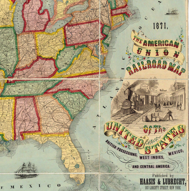 7b2c2f6119173 Old Map of United States 32x24 American Union Railroad 1871
