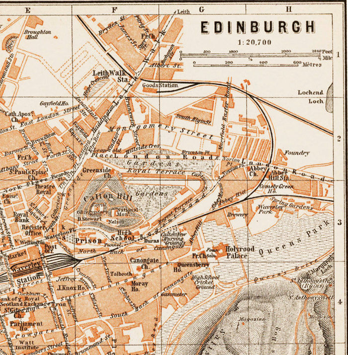 Old Map of Edinburgh Scotland 1890