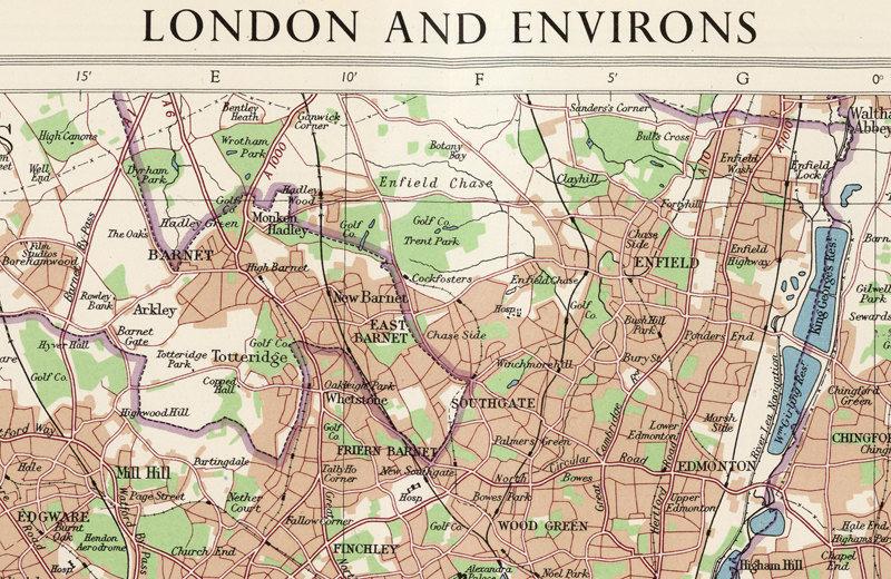London On England Map.Old Map Of London England Uk 1955