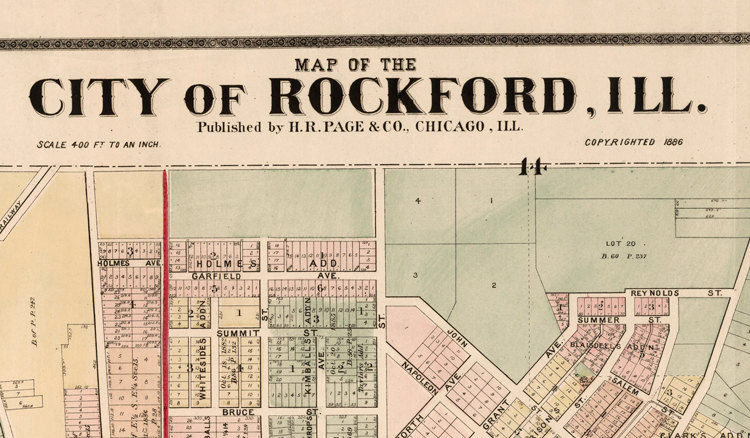 Map Of America Rockford.Old Vintage Map Of Rockford Illinois 1886 United States Of America