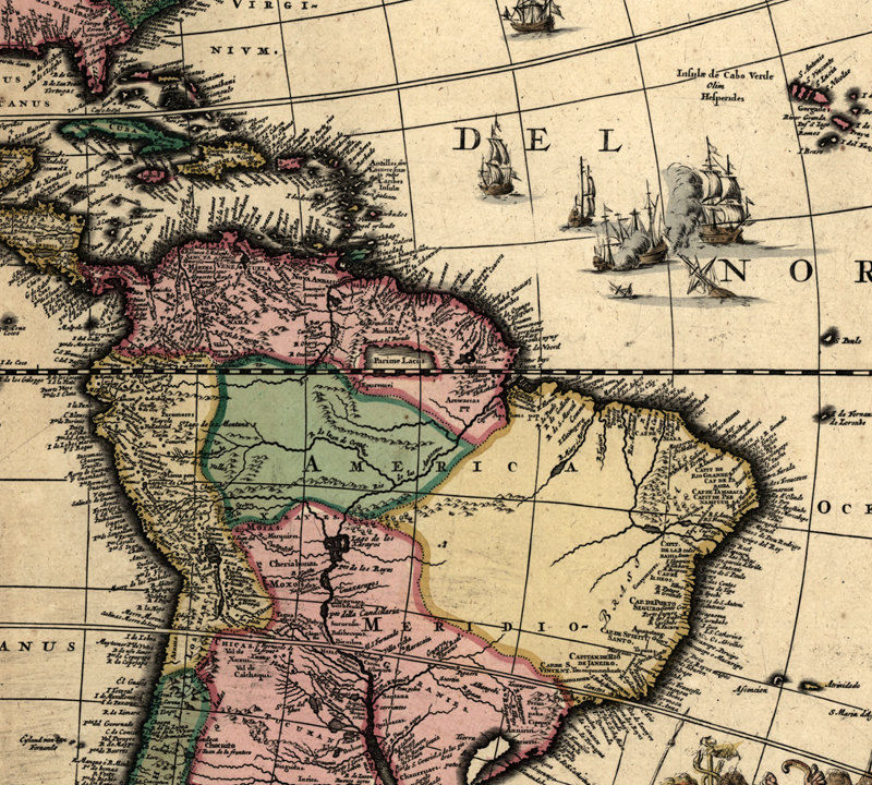 Map Of Old America.Old Map Of South America 1700 Vintage Map Vintage Maps And Prints