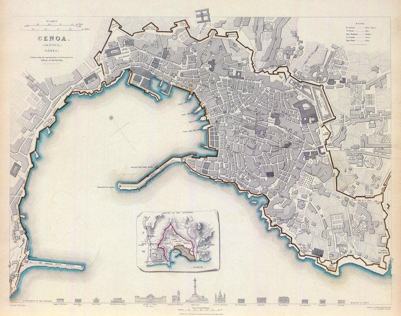 Medieval Map Of Italy.Old Map Of Genova Genes Genoa City Plan Italia 1836 Antique