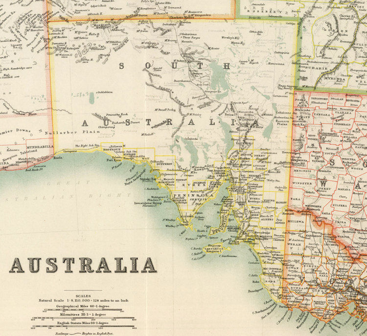 Map Of Australia Showing Perth.Vintage Map Australia Melbourne Hobart Perth Sydney Adelaide 1911