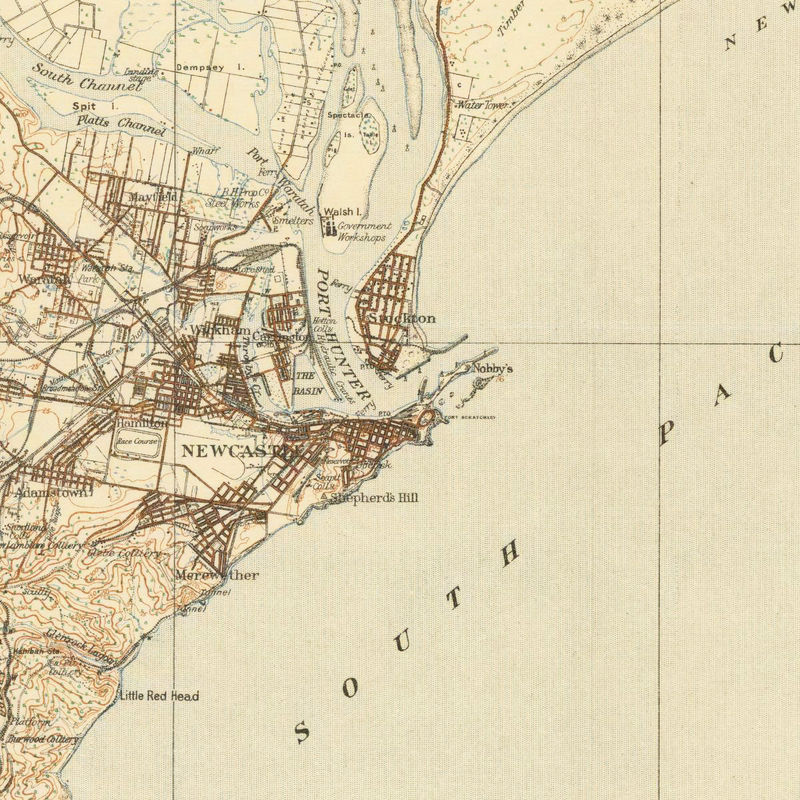 Australia Map Newcastle.Old Map Of Newcastle New South Wales Australia 1913