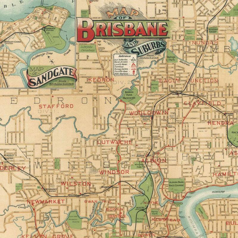 Map Of Brisbane Australia.Vintage Map Of Brisbane City Australia Oceania 1920