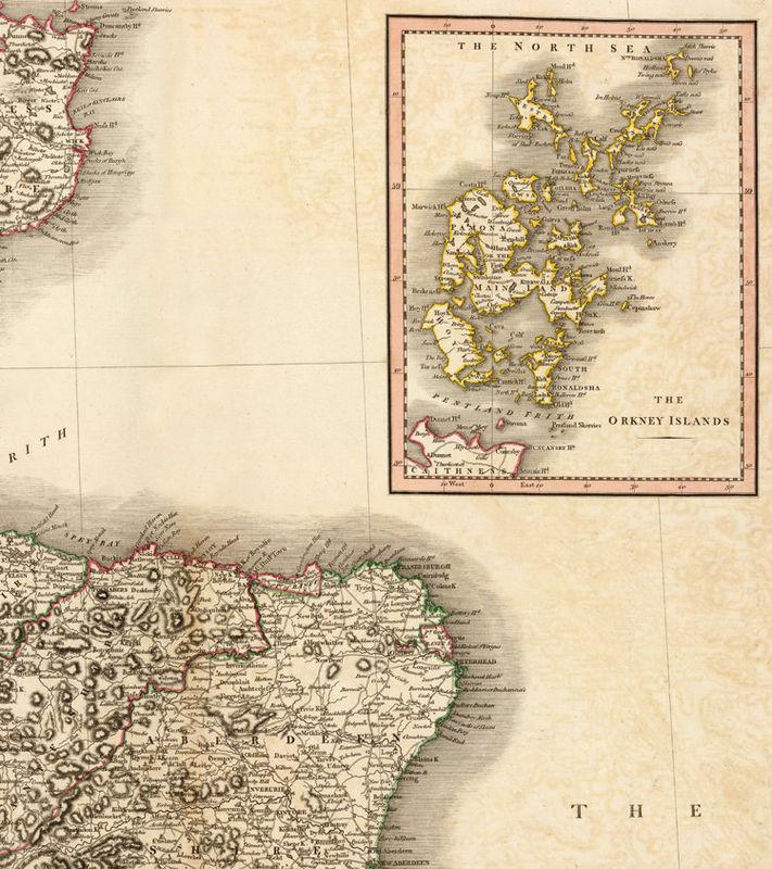 Old Map of Scotland 1801 Vintage Look North britain