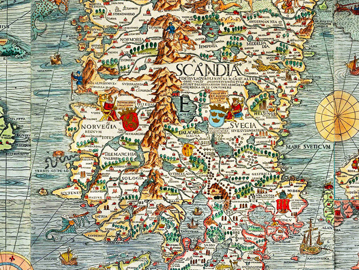 Old Vintage Map Of Norway Sweden Scandinavia Antique