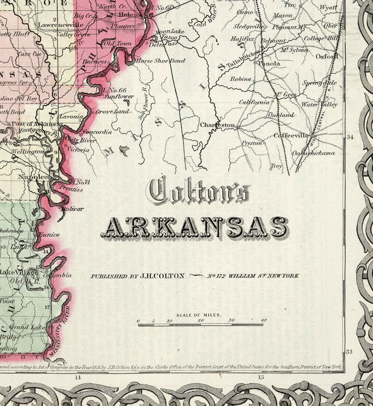 Old Map Arkansas State 1865 United States of America
