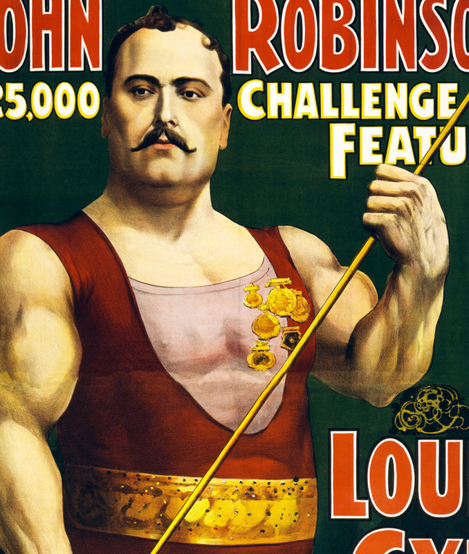Vintage Poster strongest man on earth Louis Cyr 1898 ...