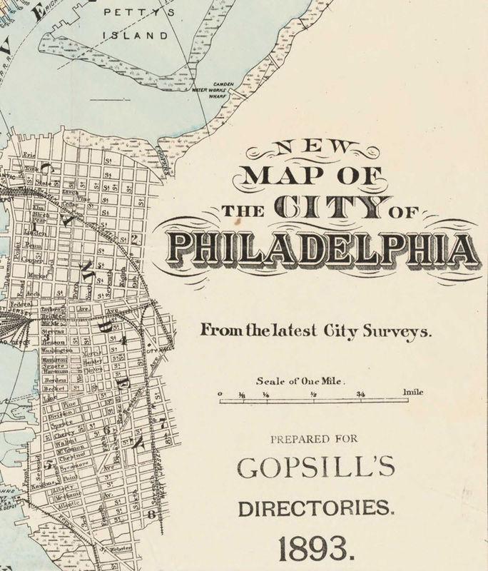 Vintage Philadelphia Map Old Map of Philadelphia, United States 1893   OLD MAPS AND VINTAGE