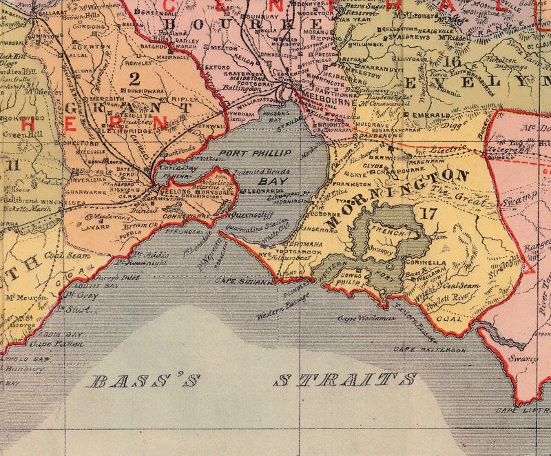 Victoria Australia Map.Old Map Of Victoria Australia Oceania 1890
