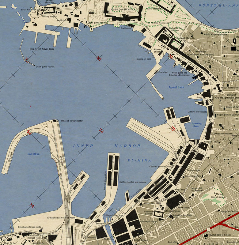 Vintage Map Of Alexandria Egypt Old Map Old Maps And Vintage Prints