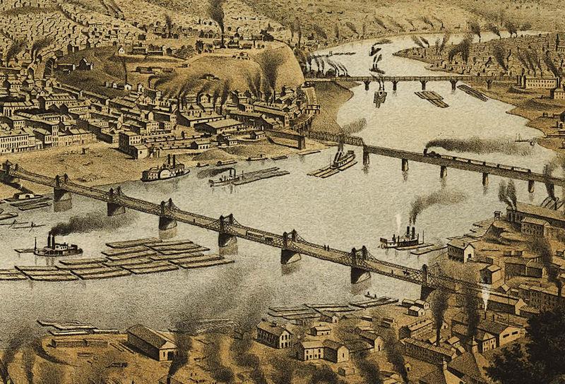 Map of Pittsburgh Pennsylvania by Kreb; 1874; Antique Birdseye Map