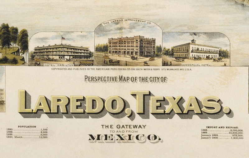 Map Of Texas Laredo.Laredo Texas Old Panoramic View 1892 Old Maps And Vintage Prints
