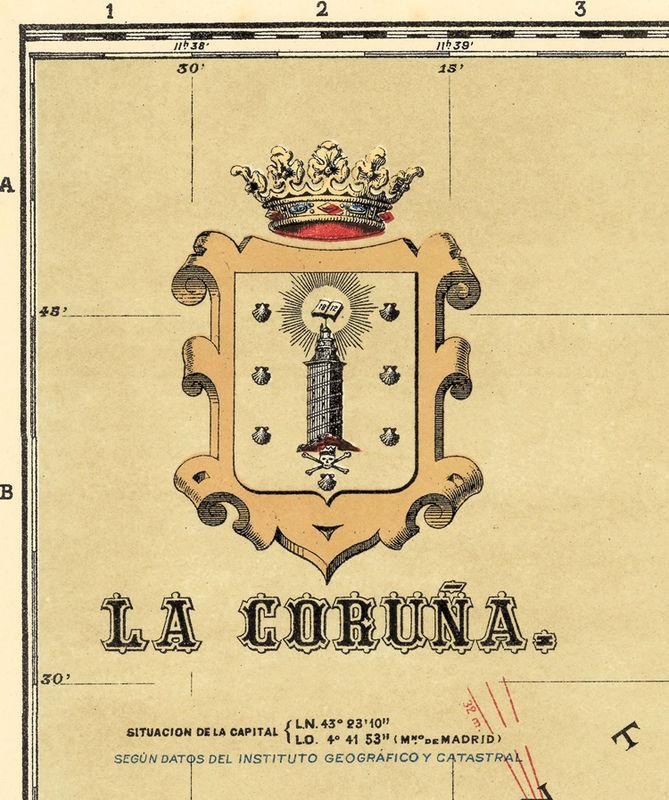 Old Map Of Coruña Galicia Corunya 1900 Spain