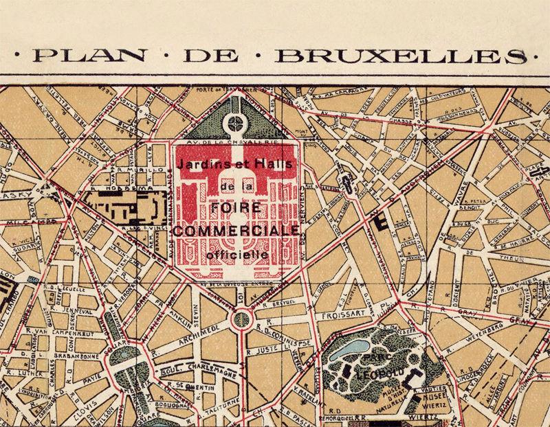 Old Map of Brussels Bruxelles, Belgium 1924