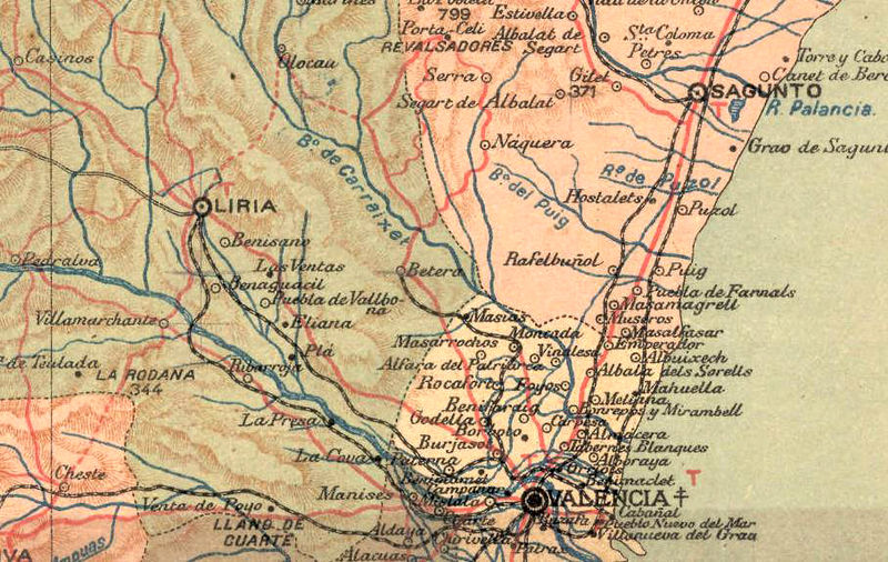 Valencia Map Of Spain.Old Map Of Valencia 1900 Spain