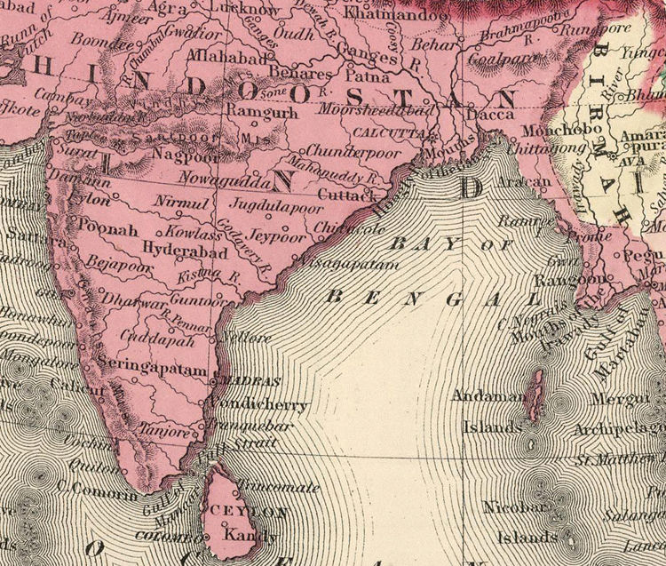 Map Of Asia India.Old Map Of Asia India China South East Asia 1865
