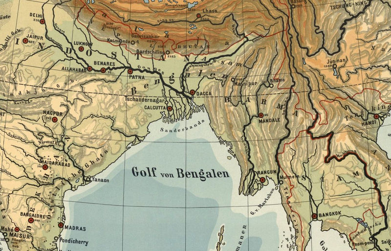 Old Map Of Asia 1901 India China South East Asia Old Maps And