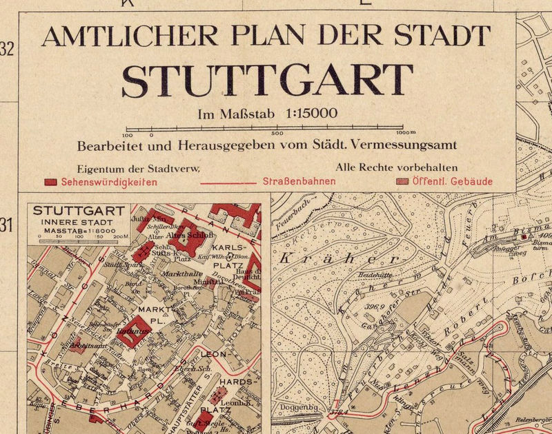 Map Of Old Germany.Old Map Of Stuttgart Germany 1925 Vintage Map Old Maps And