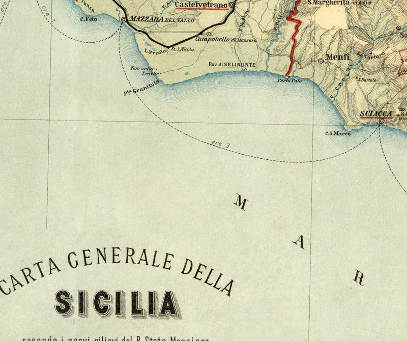 Sicily On Map Of Italy.Old Map Of Sicily Sicilia Italy 1891