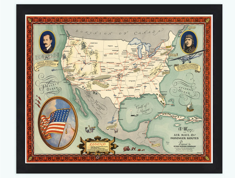 Map Of United States Air Mail Passenger Routes 1930 Old Maps And - Old-map-of-us