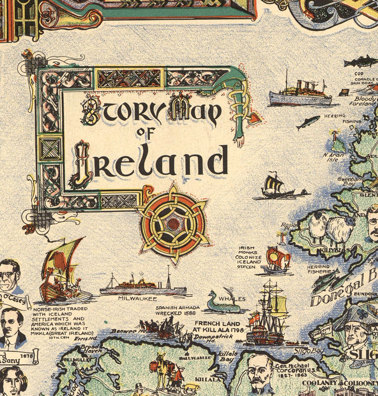 Ancient Map Of Ireland.Vintage Map Of Ireland Story Map 1936