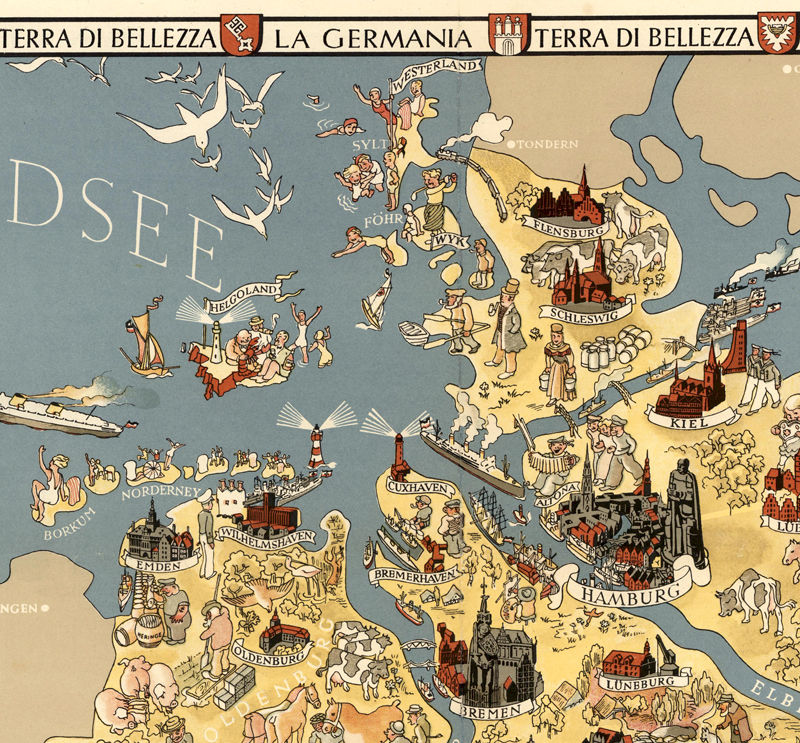 Cartoon Map Of Germany.Vintage Map Of Germany Tourism Map 1941