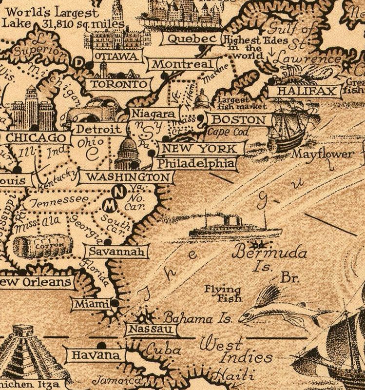 Detailed Map Of The World.Old World Map World Wonders Vintage Poster