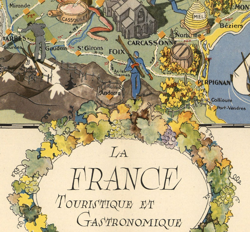 Map Of France Poster.Old Map Of France Gastronomy Tourism Poster
