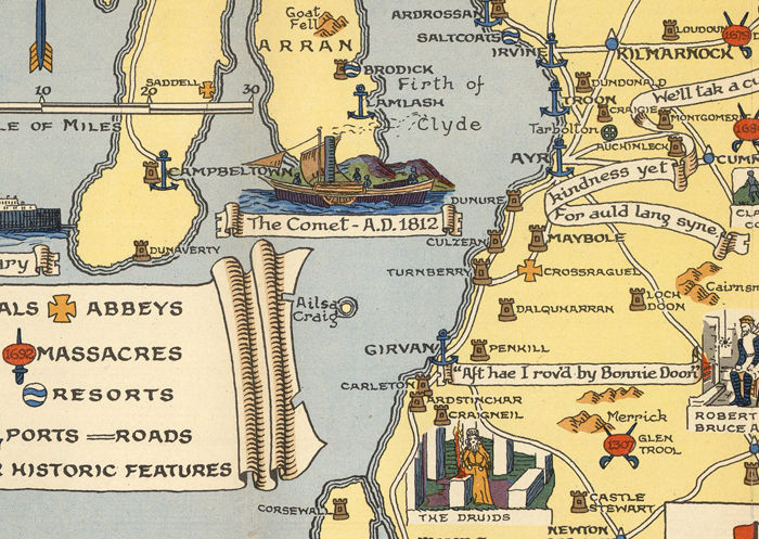 Old Map of Scotland History Map Clans Vintage Look
