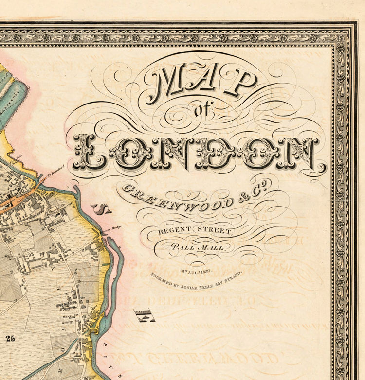 London On The Map Of England.Victorian Old London Map 1830 England