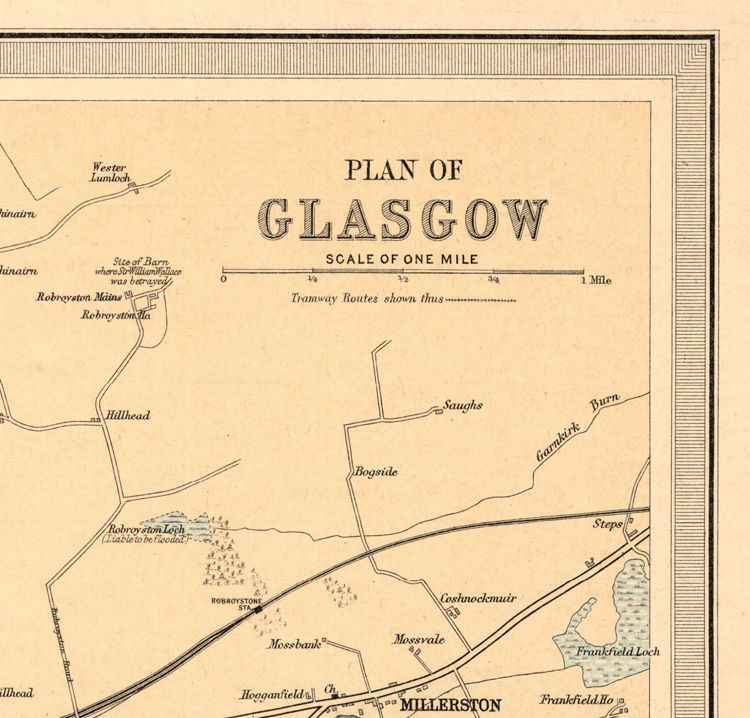 Old Map of Glasgow, Scotland 1912
