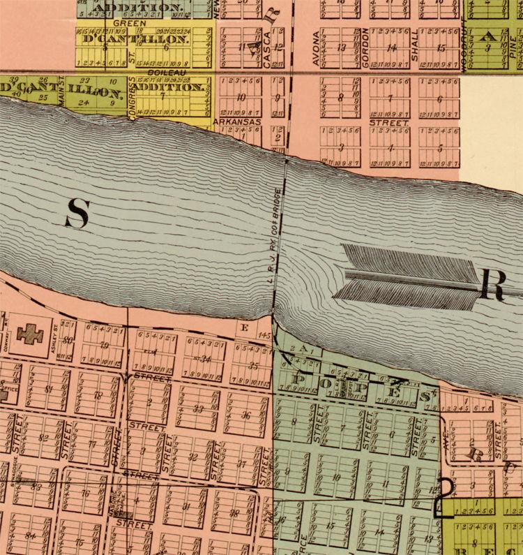 Old Map of Little Rock, Arkansas 1882